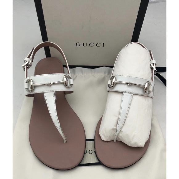 1f2a7fdf5c72f5 New Gucci Kids Horsebit Sandals White Patent SZ 1